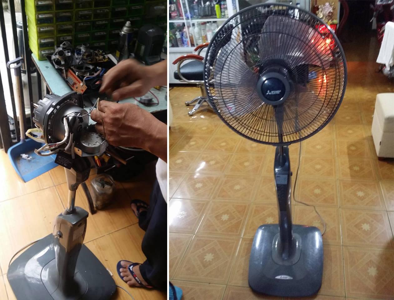 Thợ điện Hữu Thịnh đang đấu dây điện hoàn tất quá trình sửa một cây quạt Mitsubishi giao cho khách hàng.