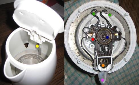 Hình ảnh thật tế của ống dẫn hơi nước và vị trí của rờ le nhiệt lưỡng kim bên trong một ấm siêu tốc